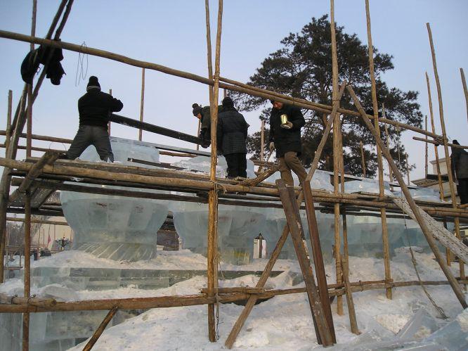 Ice Sculpting Heida's Dragon during Harbin's 2005 Ice and Snow Festival