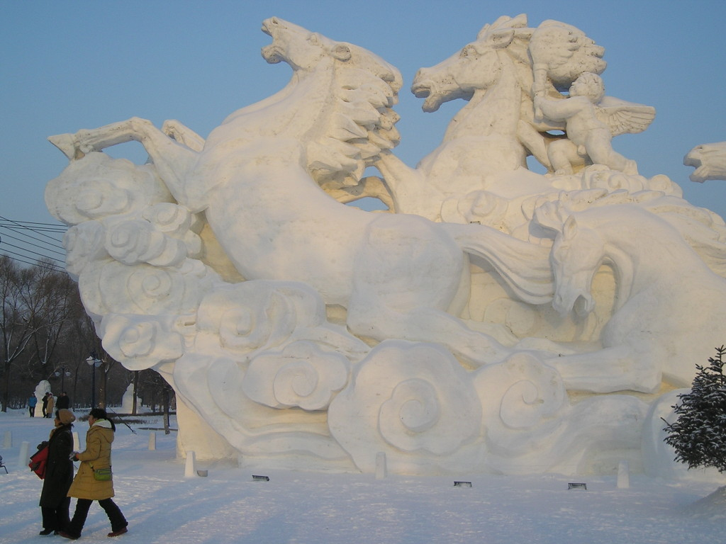 Harbin Ice and Snow Festival Giant Mythic Snow Horses 2005