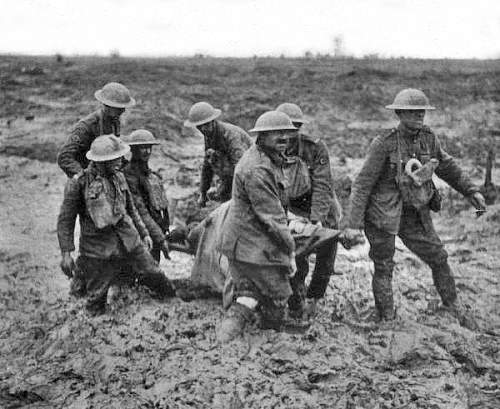 """A scene from WW I Bethune would have been familiar with. Bethune """"served"""" in three war zones in the capacity of saver of life: WW I (stretcher-bearer), Spanish Civil War (mobile blood transfusions), China's """"War of Resistance"""" against Japan (surgeon)"""