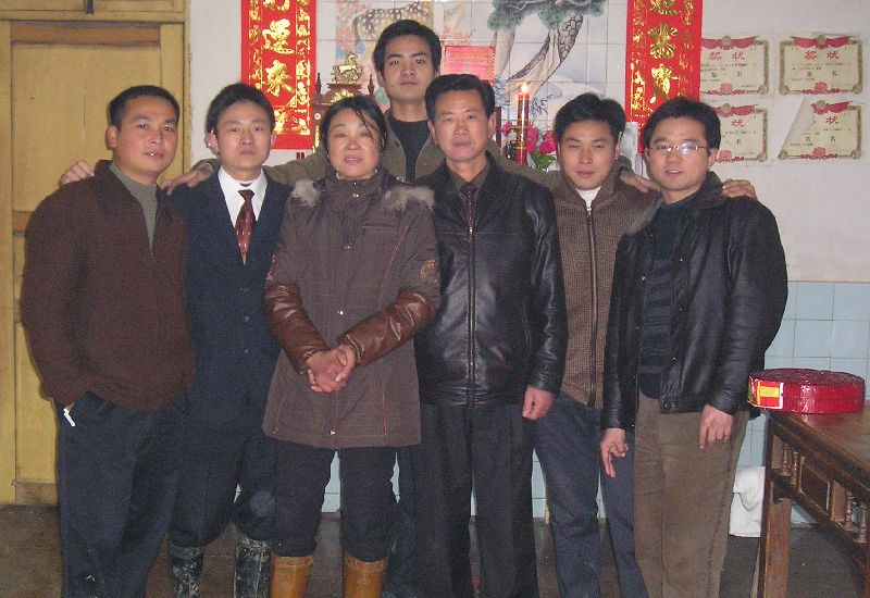 Yeming is standing behind his parents. 2nd from left, Haiming suffered a broken pelvis. Mr. Zhang and on his left his nephew, Jinming, cared for me in hospital.