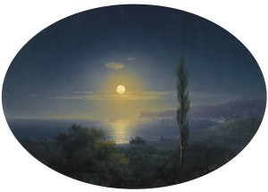 Ivan Aivazovsky Crimea 1853 haloed moonlight
