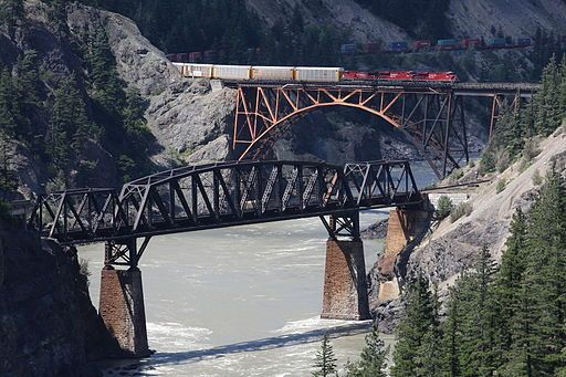 CPR train crossing the Fraser River at Siska,BC. Photo by Michael Frei